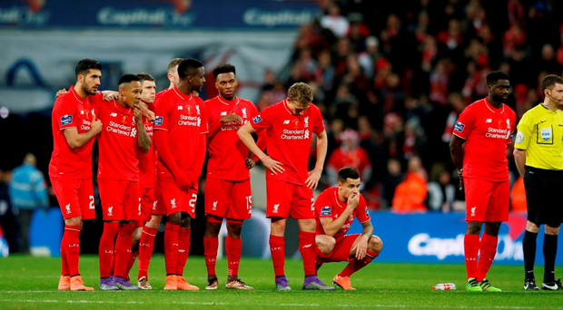 Football Soccer - Liverpool v Manchester City - Capital One Cup Final - Wembley Stadium - 28/2/16 Liverpool players during the penalty shootout Action Images via Reuters / Paul Childs
