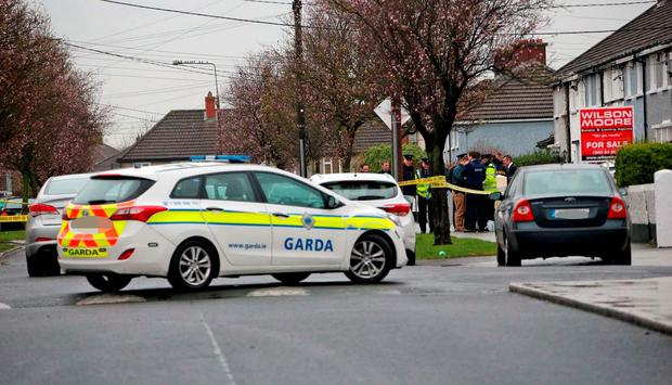 Gardai at the scene of the shooting on McKee Road, Finglas this afternoon.. Picture Colin Keegan, Collins Dublin.