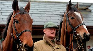 Trainer Willie Mullins with Valseur Lido, left, and Vautour, at his stables ahead of the Cheltenham Festival. Willie Mullins Stable Visit ahead of Cheltenham 2016. Closutton, Bagenalstown, Co. Carlow. Picture credit: Seb Daly / SPORTSFILE
