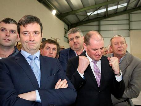 Fine Gael's Michael D'Arcy (left) and Fine Gael's Paul Kehoe photographed at the announcement of the result where they got the final 2 seats. Photo; Mary Browne