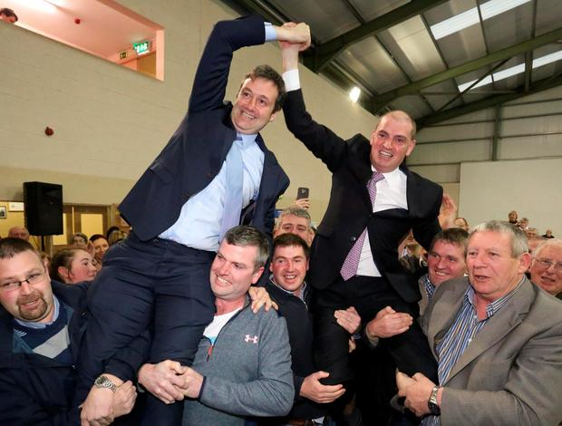 Fine Gael's Michael D'Arcy (left) and Fine Gael's Paul Kehoe photographed at the announcment of the result where they got the final 2 seats. Photo; Mary Browne