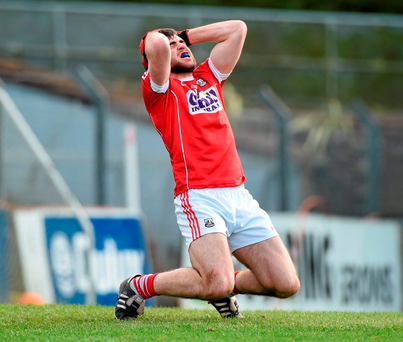Cork's Peter Kelleher reacts after missing a goal-scoring chance against Roscommon. Photo: Diarmuid Greene/Sportsfile