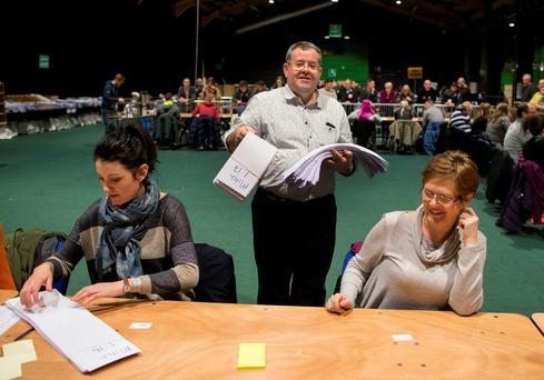 General scene at RDS Count centre as the full recount for the Dublin Bay North constituency is under way Credit: Fergal Phillips
