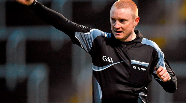 Referee Barry Cassidy in action. Photo: Cody Glenn/Sportsfile