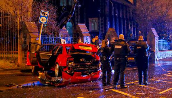 Scene of a collision on the Glen Road in Belfast ( Photo by Kevin Scott / Presseye )