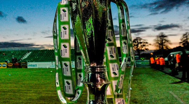 The SSE Airtricity League Premier Division trophy before the Dundalk v Cork City game at Oriel Park last October Photo: David Maher / SPORTSFILE