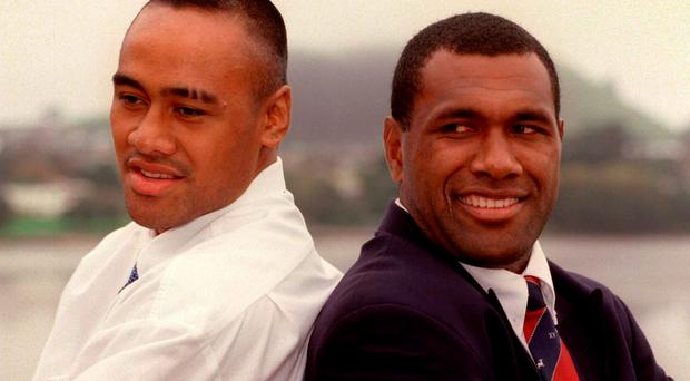 Jonah Lomu with Counties and New Zealand team-mate Joeli Vidiri in 1998. Photo: Ross Setford/Getty Images