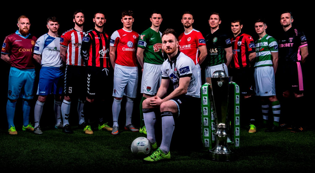 Players from each of the SSE Airtricity League Premier division teams are, from left: Ryan Connolly, Galway United, Derek Wilkinson, Finn Harps, Ryan McBride, Derry City, Kurtis Byrne, Bohemians, Kieran Saddlier, Sligo Rovers, John Dunleavy, Cork City, Stephen O'Donnell, Dundalk, Ger O'Brien, St Patrick's Athletic, Conor Kenna, Bray Wanderers, Conor Powell, Longford Town, Harry Cornally, Shamrock Rovers, and Graham Doyle, Wexford Youths FC, during the launch of the 2016 SSE Airtricity League at the Aviva Stadium, Dublin Photo: David Maher / Sportsfile