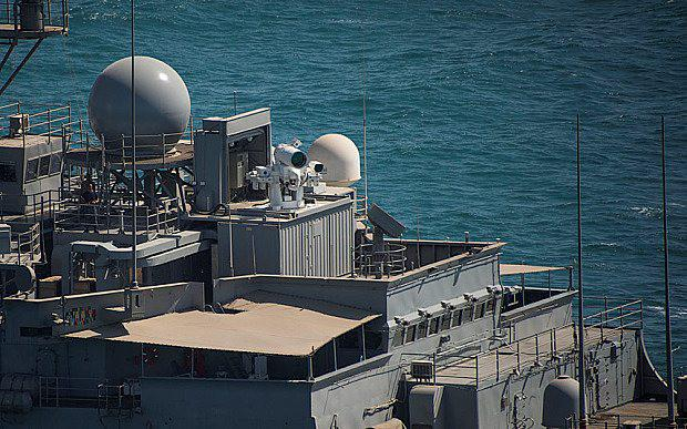 USS Ponce AFSB(I)-15 transits in the Arabian Gulf with the newly installed Laser Weapon System (LaWS)