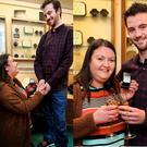 Ciara Grehan proposes to her boyfriend James Lyons (both from Tallaght) at Martin Gear Jewellers after winning a €1000 voucher at the store on this leap year day. Picture: Steve Humphreys