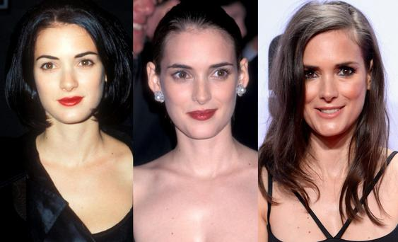 Winona Ryder in 1990, 1996 and 2016