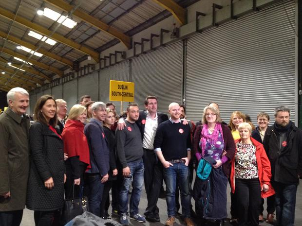 Labour's Aodhán Ó Ríordáin with his team after conceding