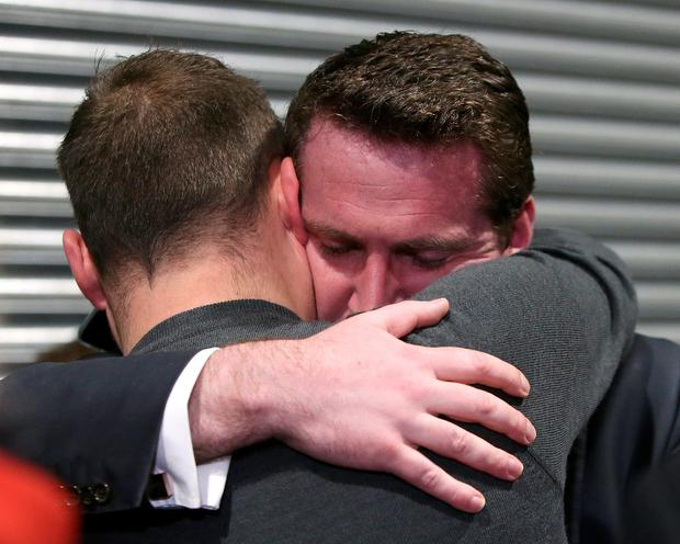Labour candidate, Aodhán Ó Ríordáin is embraced after he lost his seat in the Dublin Bay North constituency at the RDS count centre. Picture: Damien Eagers