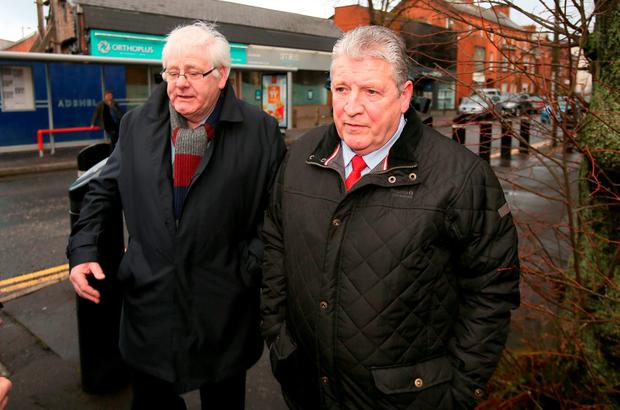 Michael Gallagher (left) who lost his son Aidan, and Stanley McComb, who lost his wife Ann in the Omagh bombings, arrive at Ballymena Court, as Mr Gallagher said he was unhappy that information was circulating about the collapse of the case, yet he and other families had not been informed by the authorities