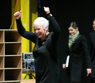 Bríd Smith, People before profit, Anti-Austerity Alliance candidate, celebrates after winning the final seat in the Dublin South-Central constituency at the RDS Count centre. Credit: Damien Eagers