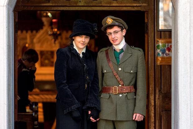 Shauna Kavanagh and Bernard Scully, students at Borris Vocational School, Co Carlow, as Grace Gifford and Joseph Plunkett for their 1916 film 'Til Death Do Us Part'.