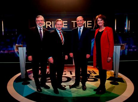 Gerry Adams, Enda Kenny, Micheál Martin and Joan Burton before the last leaders' debate ahead of the General Election on RTE's Prime Time. Photo credit: Tony Maxwell/PA Wire