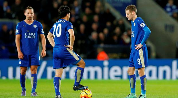 Leicester City's Jamie Vardy and Shinji Okazaki look dejected after Salomon Rondon (not pictured) scores the first goal for West Brom