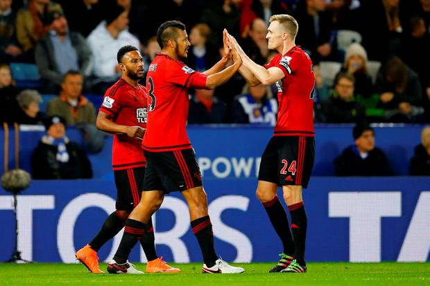 Salomon Rondon celebrates scoring the first goal for West Brom with Darren Fletcher and Stephane Sessegnon