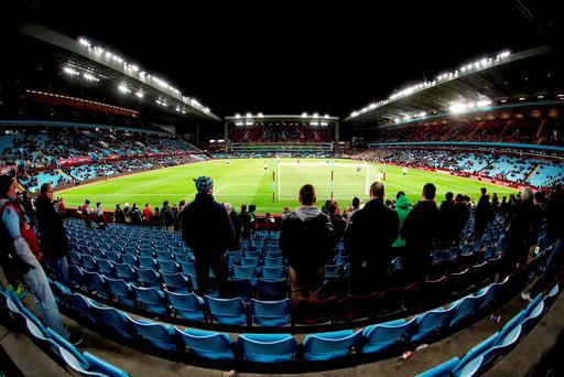 A general view of match action from the stands during the Barclays Premier League match at Villa Park