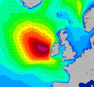 A swell chart shows the effect of Storm Jake's approach. Photo: magicseaweed.com