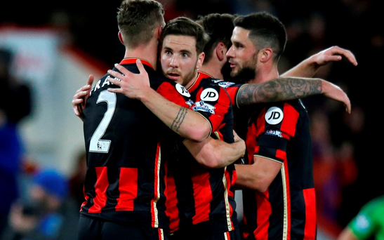 Football Soccer - AFC Bournemouth v Southampton - Barclays Premier League - Vitality Stadium - 1/3/16 Bournemouth's Dan Gosling and teammates celebrate after the match Action Images via Reuters / Paul Childs