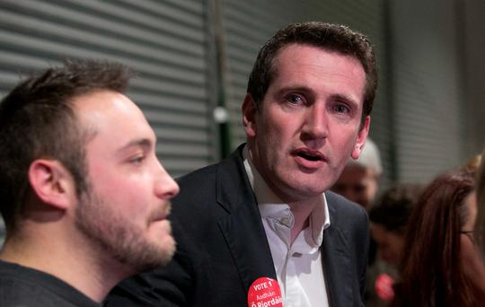 Aodhán Ó Ríordáin reacts after he lost his seat in the Dublin Bay North constituency at the RDS count centre yesterday. Photo: Gareth Chaney
