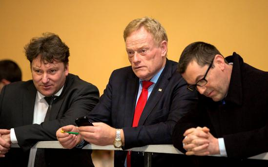 Deputy James Bannon (centre) continues the tense wait at the Longford-Westmeath count in Keenagh, Co Longford. Photo: Mark Condren