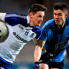 Monaghan's Conor McManus brushes off Dublin's David Byrne at Croke Park last weekend (SPORTSFILE)