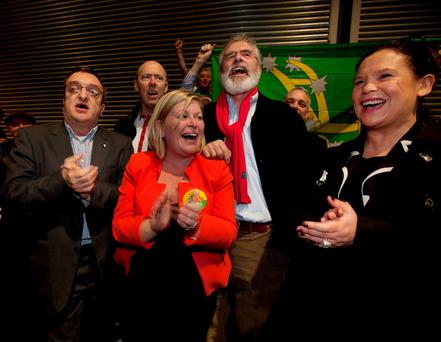 Sinn Fein President Gerry Adams with Sinn Fein candidate Denise Mitchell and Mary Lou McDonald and supporters after Ms. Mitchell was elected at the count centre in the RDS, for the Dublin Bay North constituency. Photo:RollingNews.ie