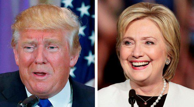 A combination photo shows Republican U.S. presidential candidate Donald Trump (L) in Palm Beach, Florida and Democratic U.S. presidential candidate Hillary Clinton (R) in Miami