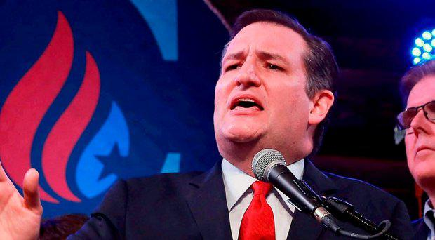 Republican U.S. presidential candidate Senator Ted Cruz reacts to the Super Tuesday primary and caucus voting results at a campaign rally in Houston