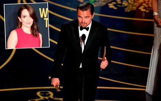 Leonardo DiCaprio during his Best Actor speech at the Oscars and (inset) is Tina Fey