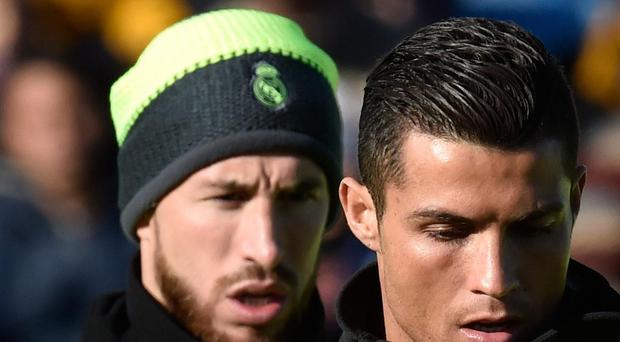 Sergio Ramos and Cristiano Ronaldo pictured during Real Madrid training Getty Images
