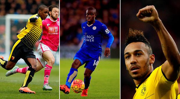 Right to left; Odion Ighalo, N'Golo Kante and Pierre-Emerick Aubameyang have been linked with Arsenal. GETTY IMAGES