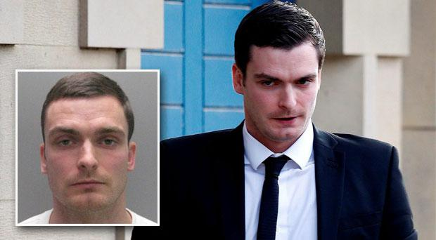 Adam Johnson has been found guilty on one count sexual activity of a minor. Inset: Adam Johnson's police mugshot