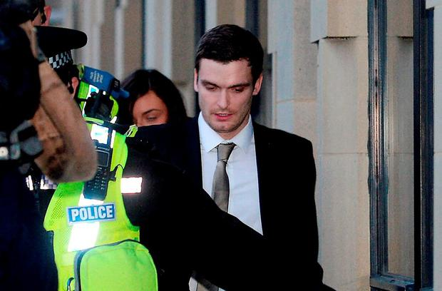 Former Sunderland and England footballer Adam Johnson leaves Bradford Crown Court where he was found guilty of one count of sexual activity with a child