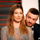 Justin Timberlake and Jessica Biel arrive at the Vanity Fair Oscar Party in Beverly Hills, California. Reuters/Danny Moloshok