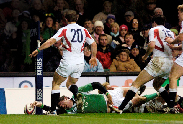 Shane Horgan's all-important try in 2006 Photo: Brian Lawless / SPORTSFILE
