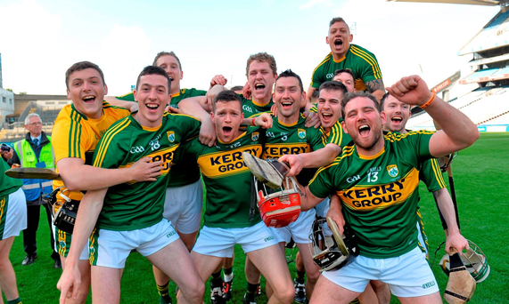 Kerry players celebrate after winning last year's Christy Ring Cup. Plans to let the Ring winners straight into the Leinster Senior Hurling Championship have created an embarrassing sequence of anomalies Photo: Matt Browne / SPORTSFILE
