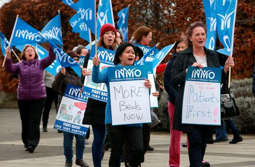 Nurses take to the streets during the INMO protest outside St Vincent's Hospital. Picture: Frank McGrath