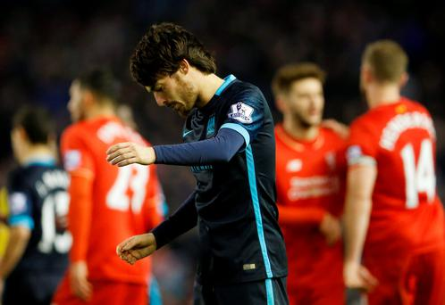 Manchester City's David Silva looks dejected after his side lost 3-0 at Anfield