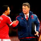 Man United manager Louis van Gaal and Memphis Depay