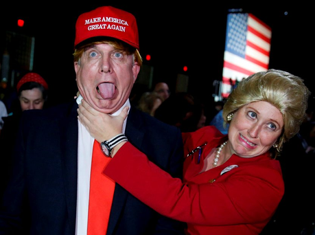 Supporters of Hillary Clinton, dressed as Clinton and Trump, at her rally in Miami, March 1, 2016 Photo: REUTERS/Jonathan Ernst