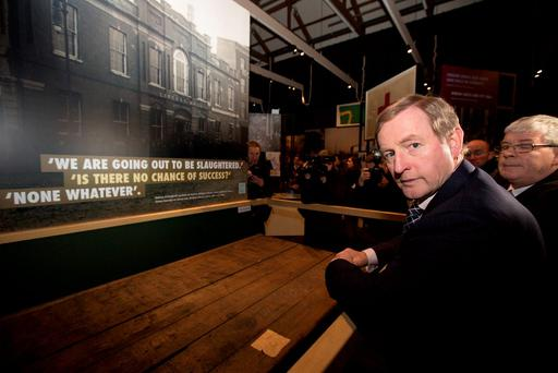 Taoiseach Enda Kenny at the launch of Proclaiming a Republic, The 1916 rising, at the National museum of Ireland, Collins barracks. Pic: Mark Condren