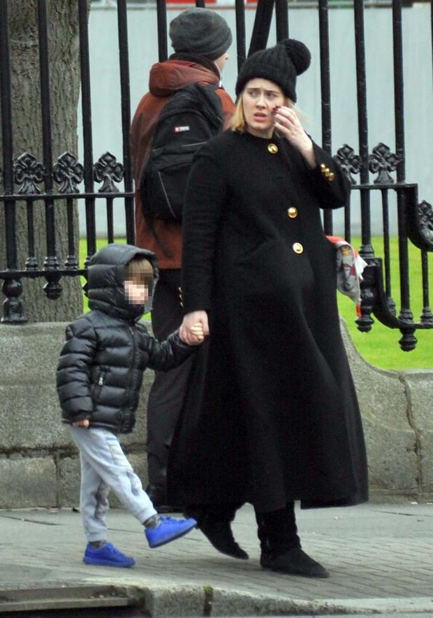Singer Adele spotted in Dublin city this afternoon with her son Angelo. Photo: John Dardis
