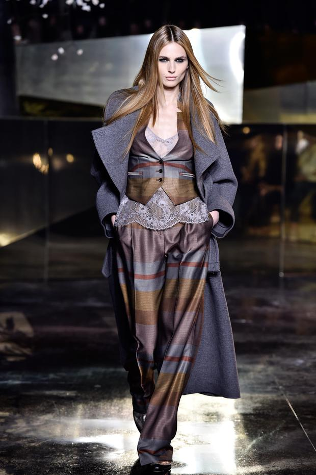 Trans model Andrea Pejic walks the runway for H&M Studio at Paris Fashion Week. Photo: Getty.