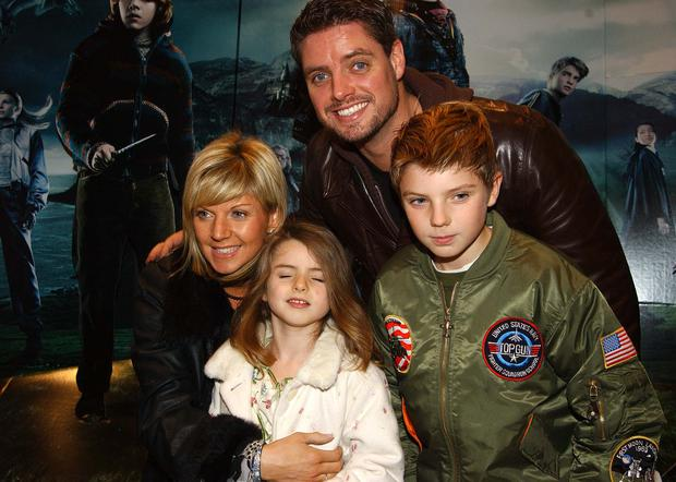 2005: Keith Duffy with wife Lisa and son Jordan and daughter Mia at the Irish Premiere of Harry Potter & The Goblet of Fire at The Dundrum Town Centre.