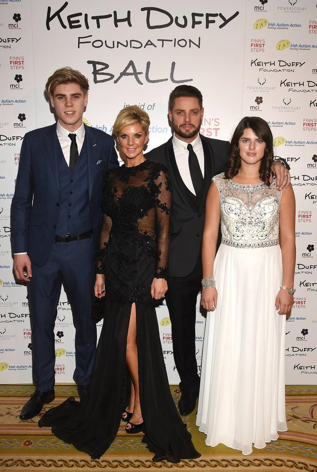 Keith Duffy with wife Lisa and children Jay and Mia. Picture: G. McDonnell / VIPIRELAND.COM