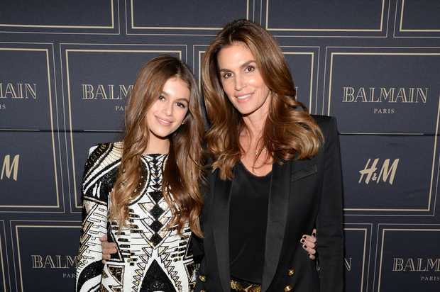 Kaia Jordan Gerber (L) and model Cindy Crawford attend the Balmain x H&M Los Angeles VIP Pre-Launch on November 4, 2015 in West Hollywood, California. (Photo by Michael Kovac/Getty Images for H&M)